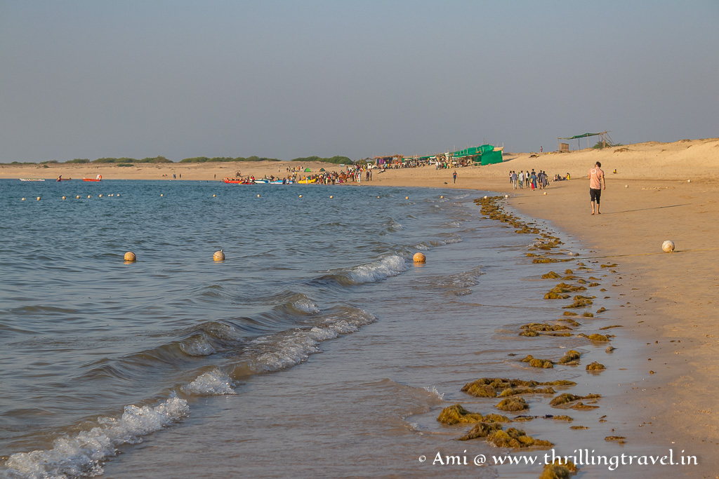 The safe swimming zone is clearly marked on Dwarka Shivrajpur beach