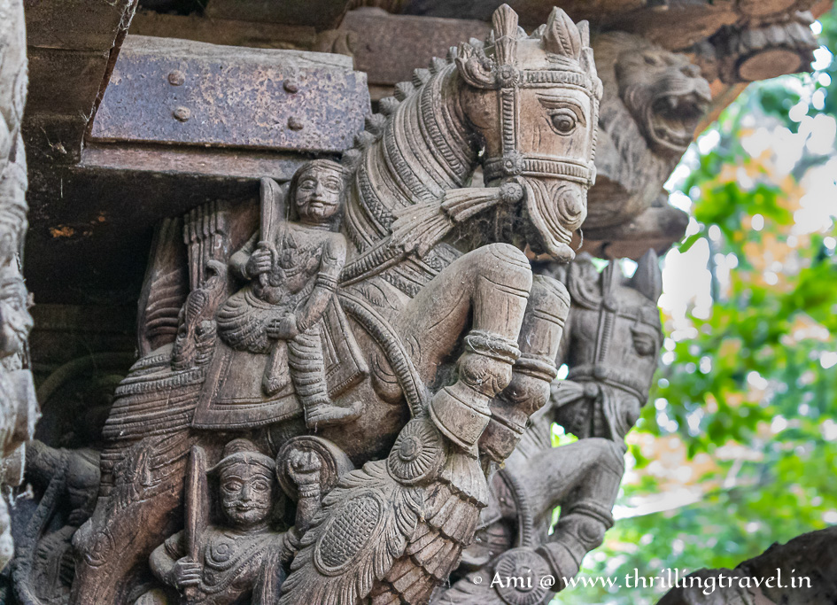 Close up of the wooden carvings on the chariot