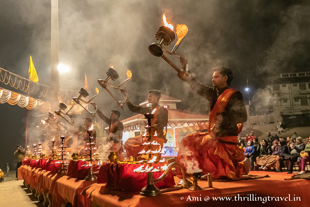 The Assi Ghat Ganga aarti - one of the key attractions of Varanasi