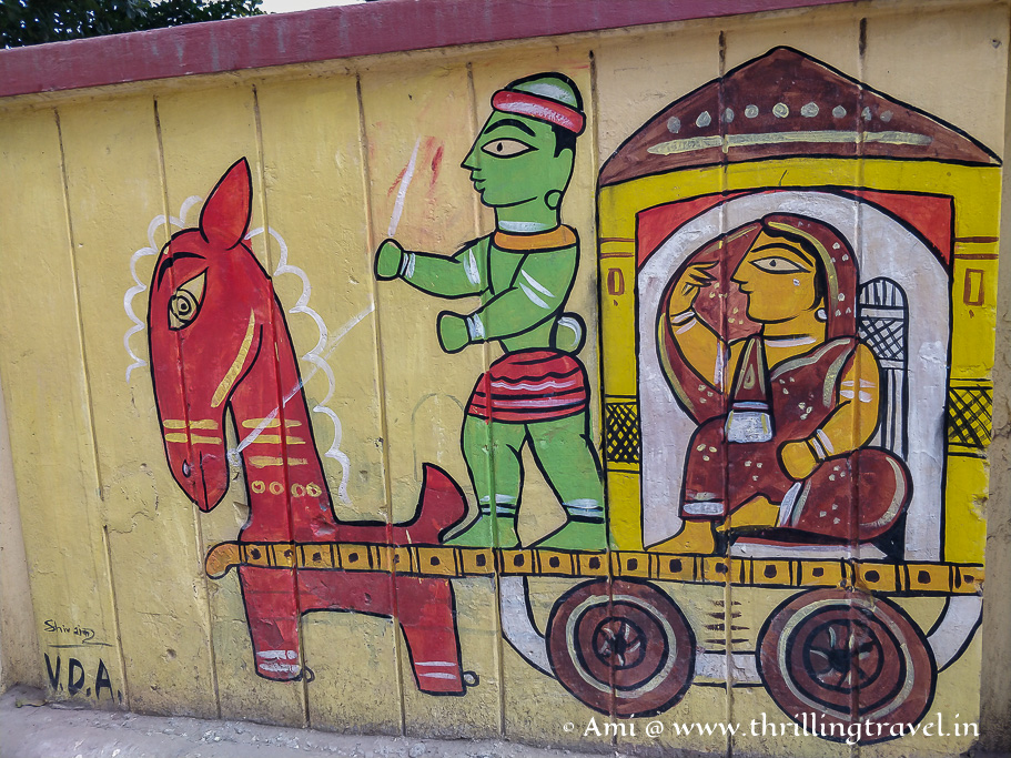 Gond art painted on the walls of Kashi