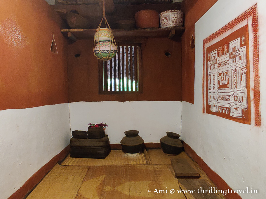 The traditional mural inside the Malnad house