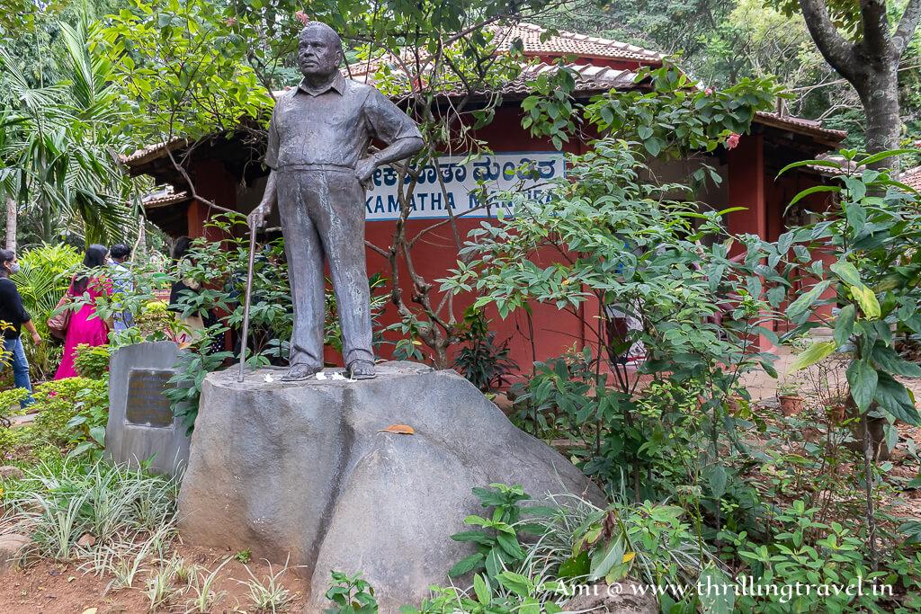 H.L Nagegowda's statue in the premises of Janapada Loka in Ramanagara