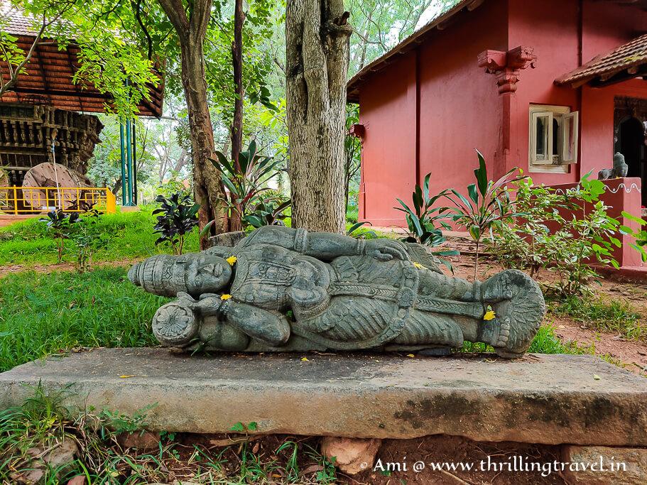 An abandoned rock sculpture of Karnataka - now kept at the Janapada Loka