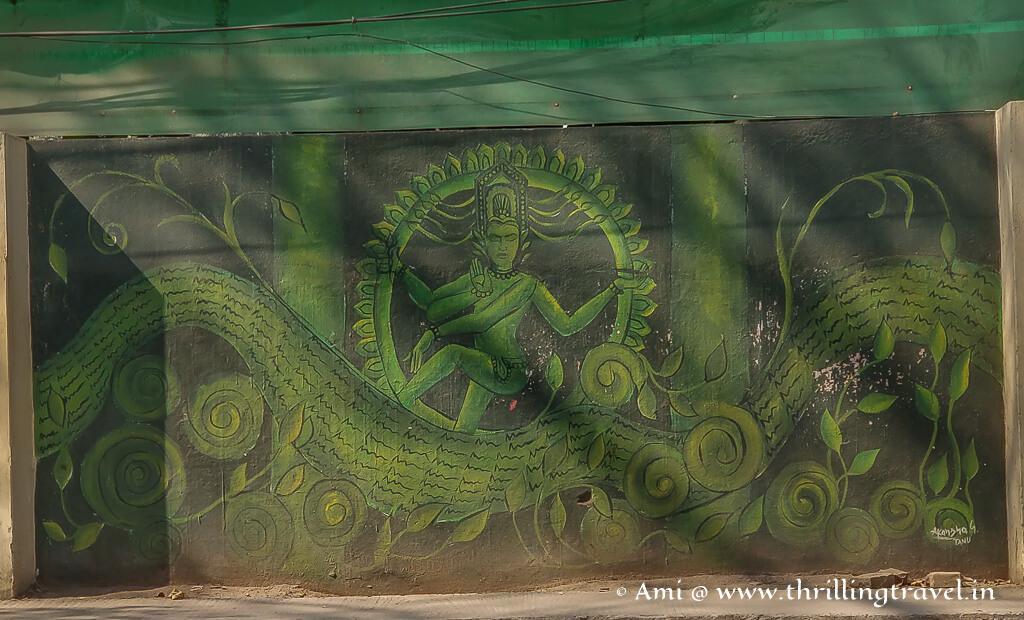 Nataraj - the dancing form of Lord Shiva depicted on the walls of Varanasi