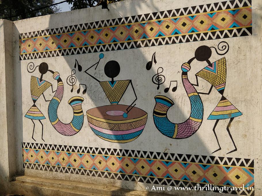 Warli art on the walls of Banaras