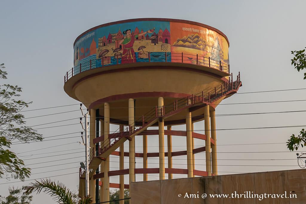 Water tanks with graffiti in Varanasi
