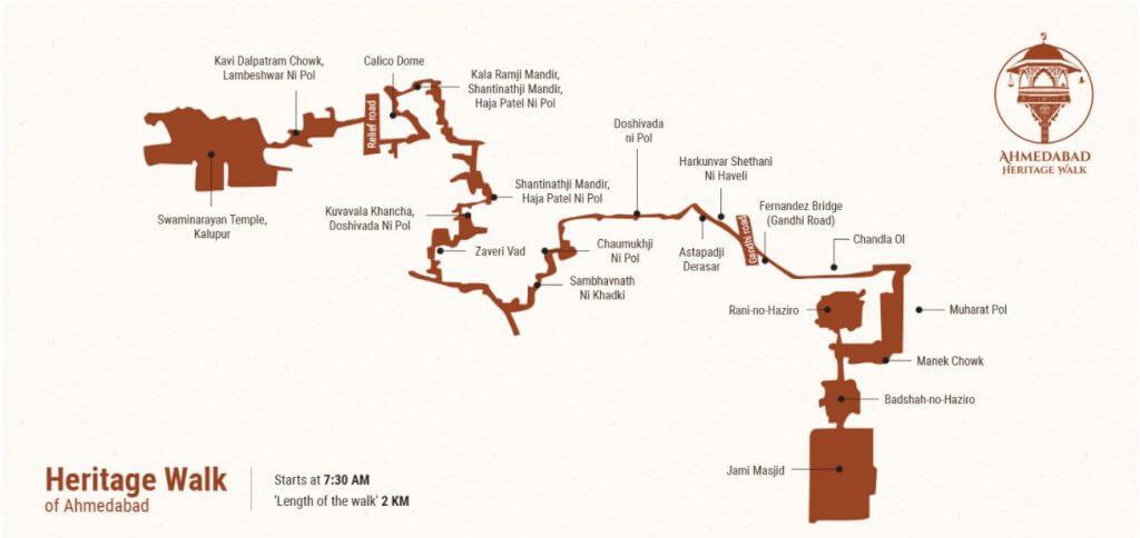 Ahmedabad heritage walk map