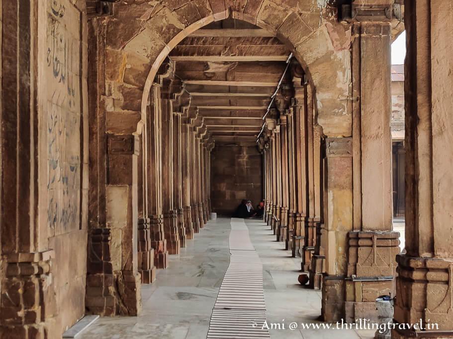 The passage way of Jama Masjid -  our last stop on the Ahmedabad heritage walk