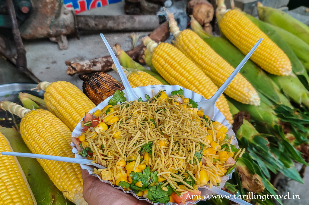 Corn Chaat - one of the must try dishes in Saputara