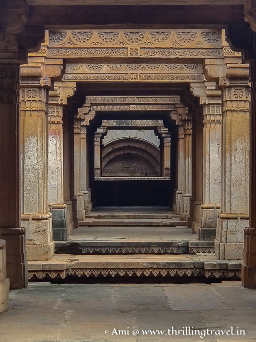 The corridors in Adalaj stepwell Ahmedabad where the visitors used to rest and the women sat around to gossip