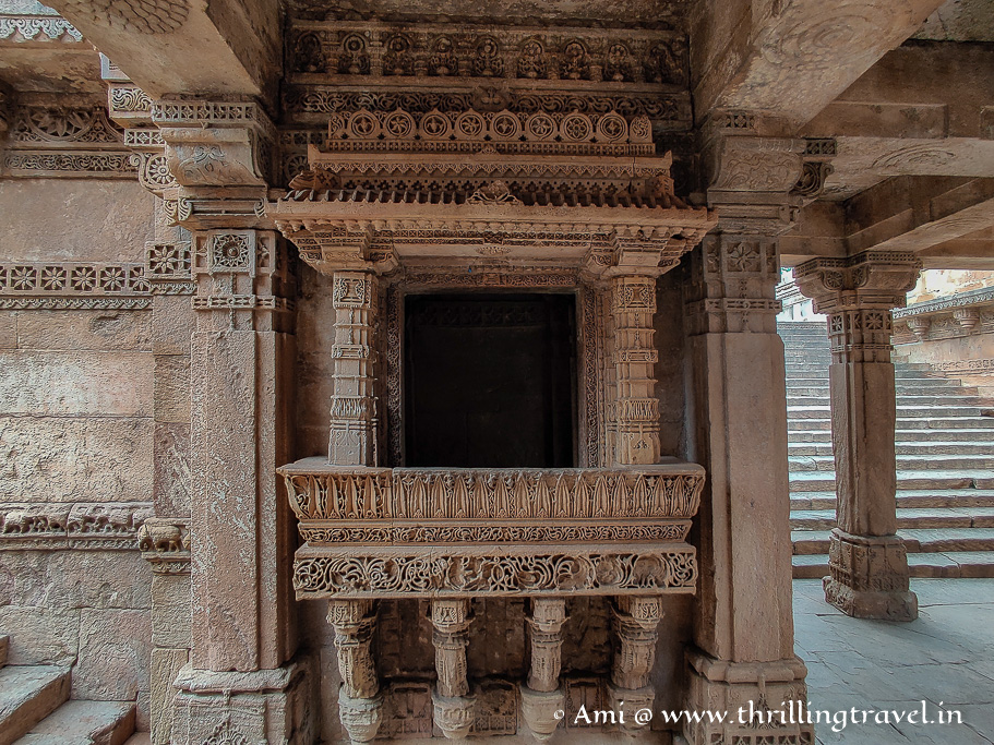 The gorgeous oriel windows of the stepwell at Adalaj