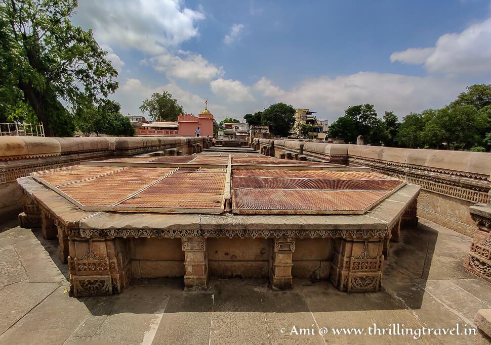 The ground level of Adalaj Vav Ahmedabad