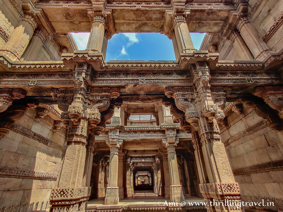 The carved pillars and open-to sky structure of Adalaj Vav
