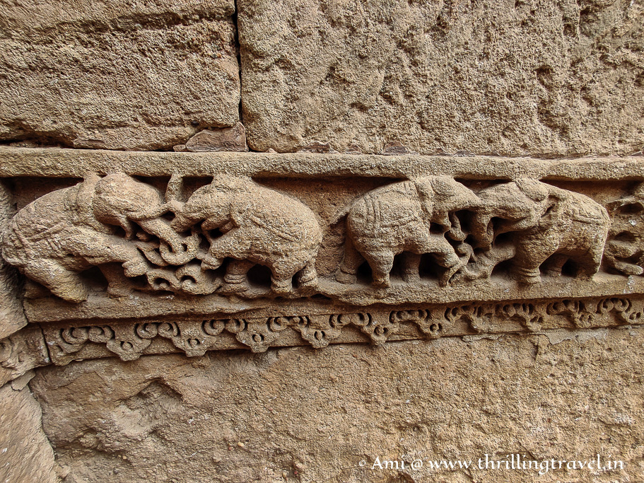 Elephant carvings on Level One of Adalaj well