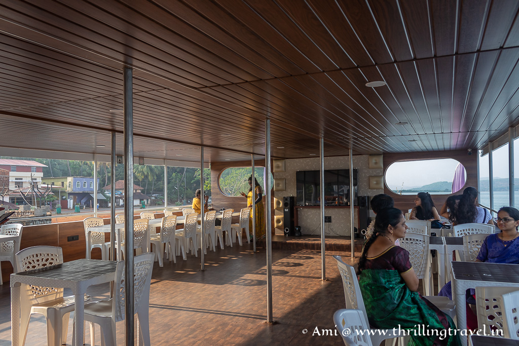 The dining area of the upper deck of the Sunset cruise in Gokarna
