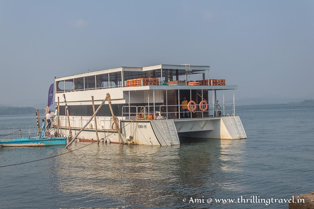 White Pearl cruise docked at Tadadi port near Gokarna